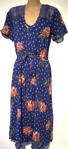 NEW LOOK BLUE LACE FLORAL DRESS BNWT SIZES 6-18